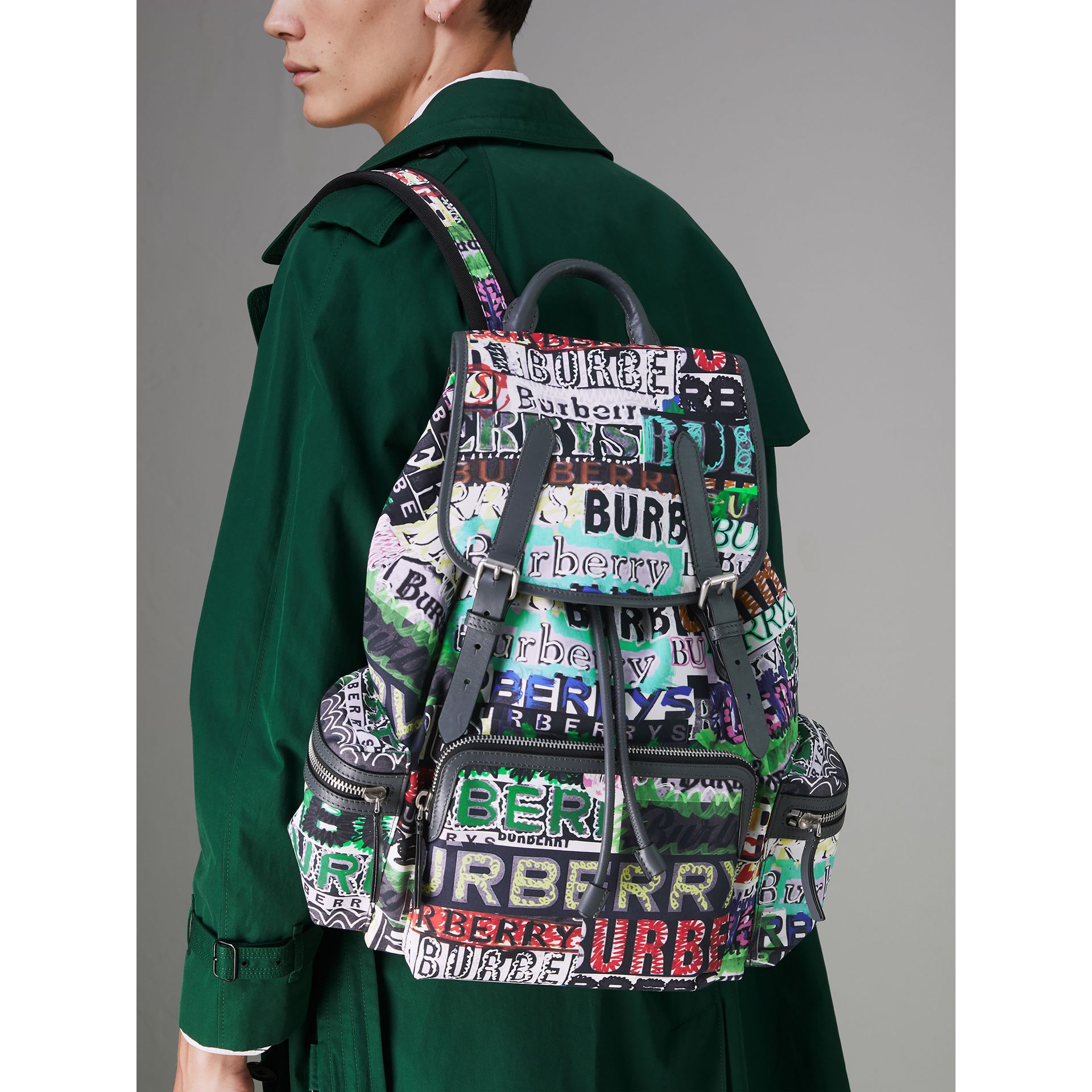 The Large Rucksack in Tag Print in Yellow - Men | Burberry - gallery image 5