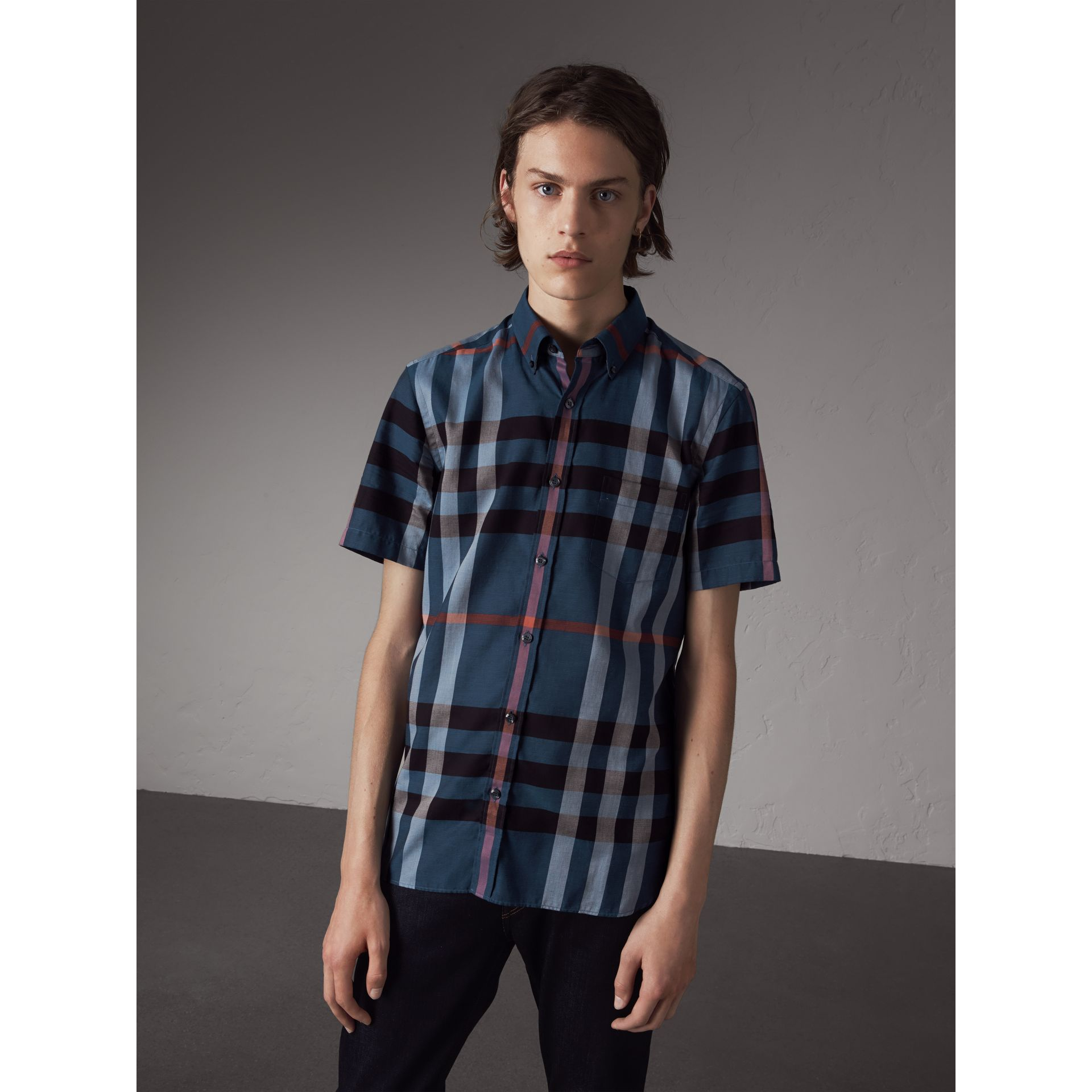 Button-down Collar Short-sleeve Check Cotton Shirt in Ink Blue - Men | Burberry - gallery image 1
