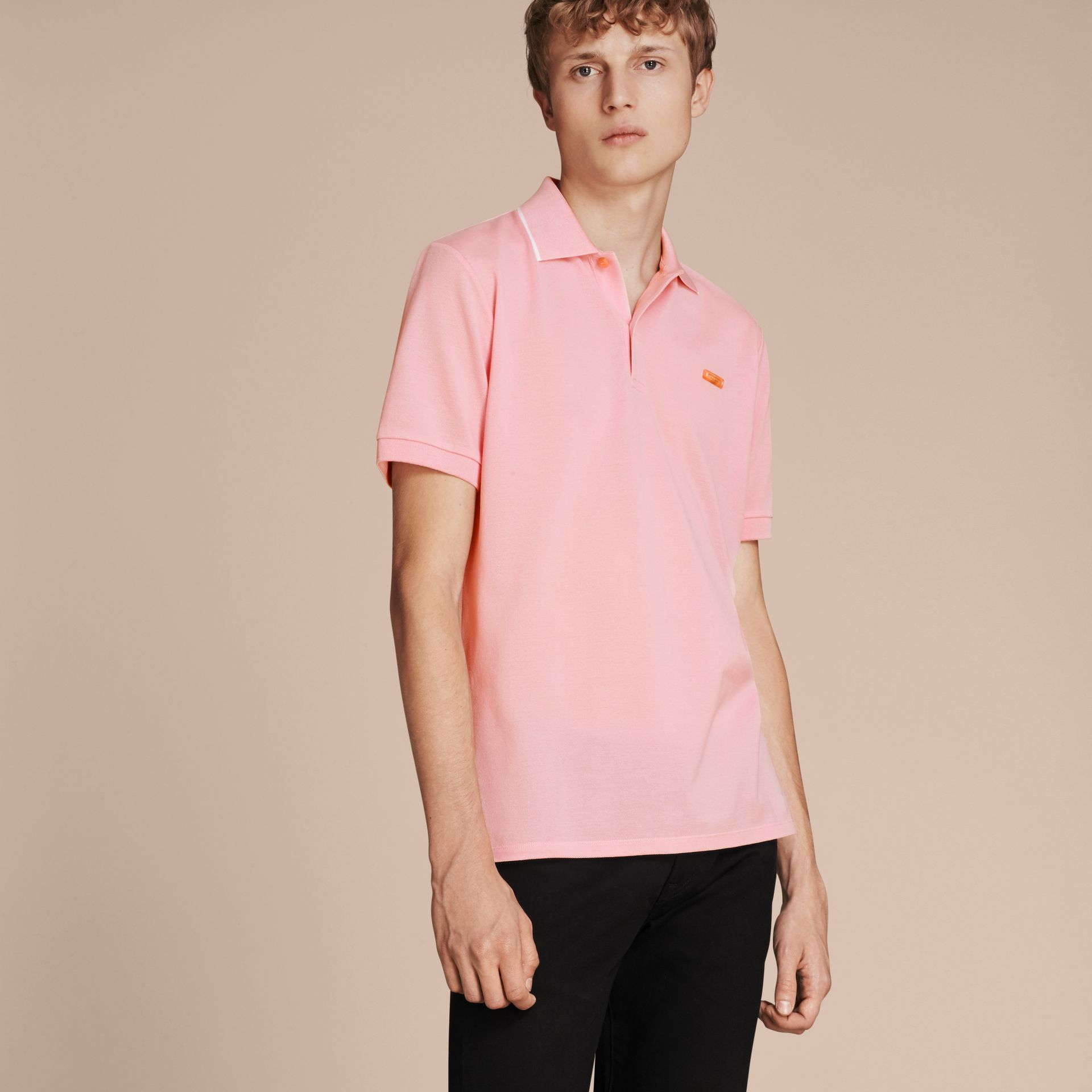 Tipped Collar Cotton Piqué Polo Shirt in Light Pink - gallery image 6