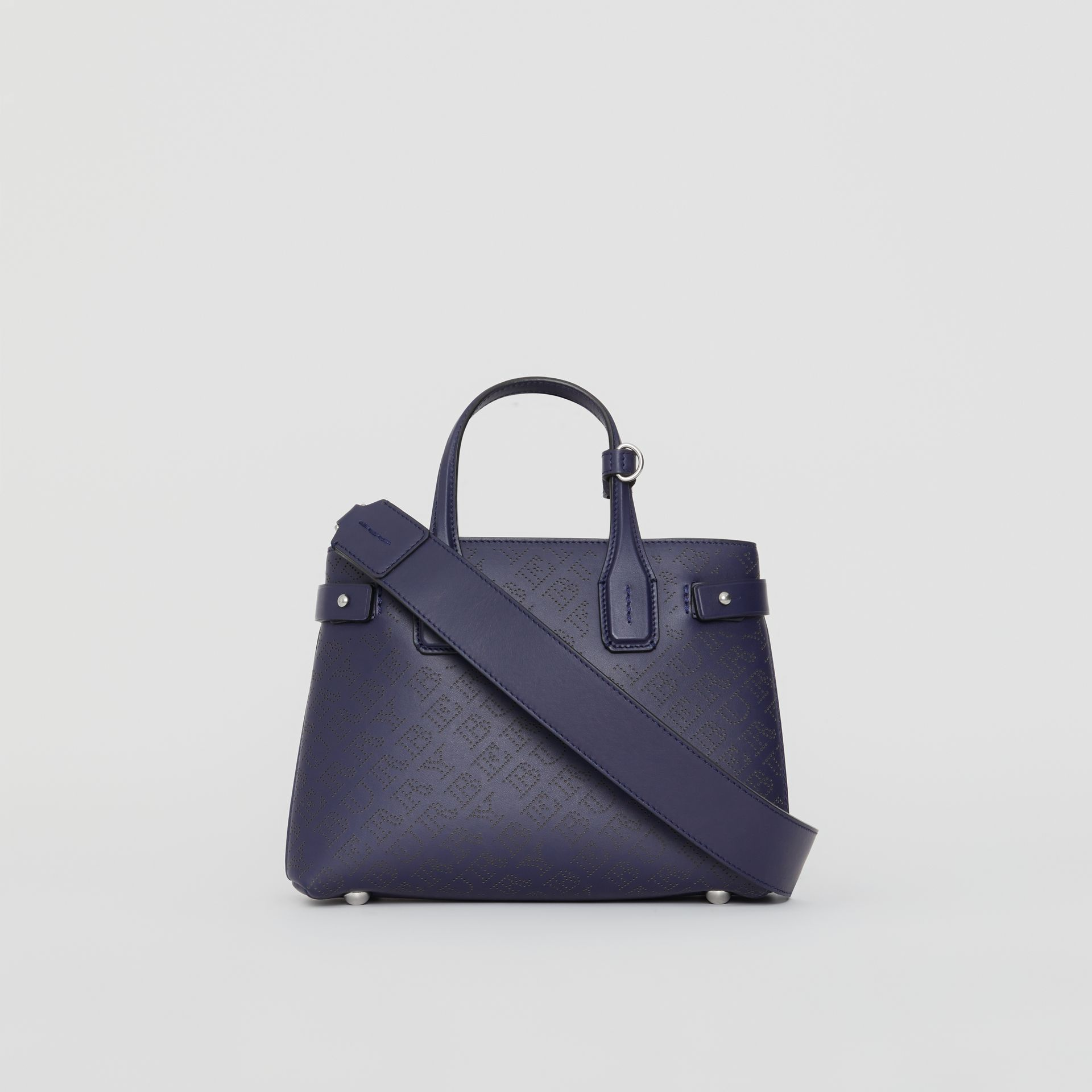 The Small Banner in Perforated Logo Leather in Regency Blue - Women | Burberry United Kingdom - gallery image 7
