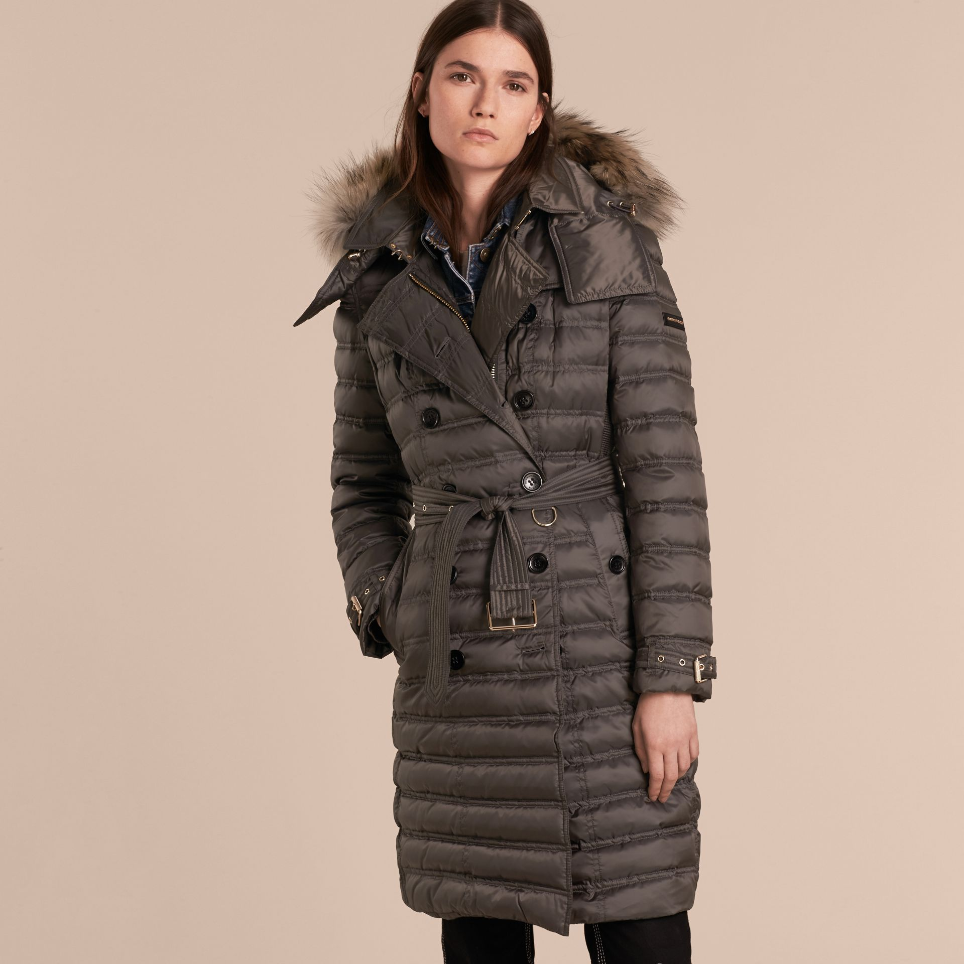 Mid grey Down-Filled Puffer Coat with Fur Trim Mid Grey - gallery image 7
