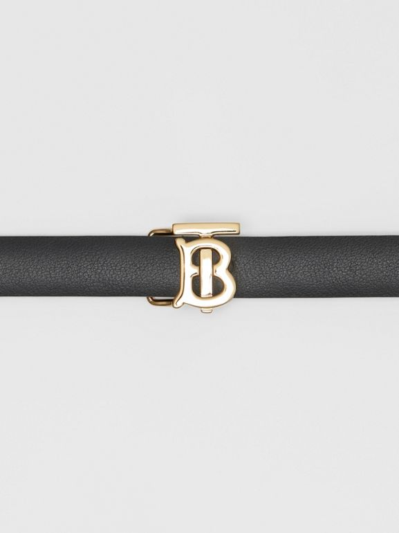 Reversible Monogram Motif Leather Wrap Belt in Black/malt Brown - Women | Burberry - cell image 1