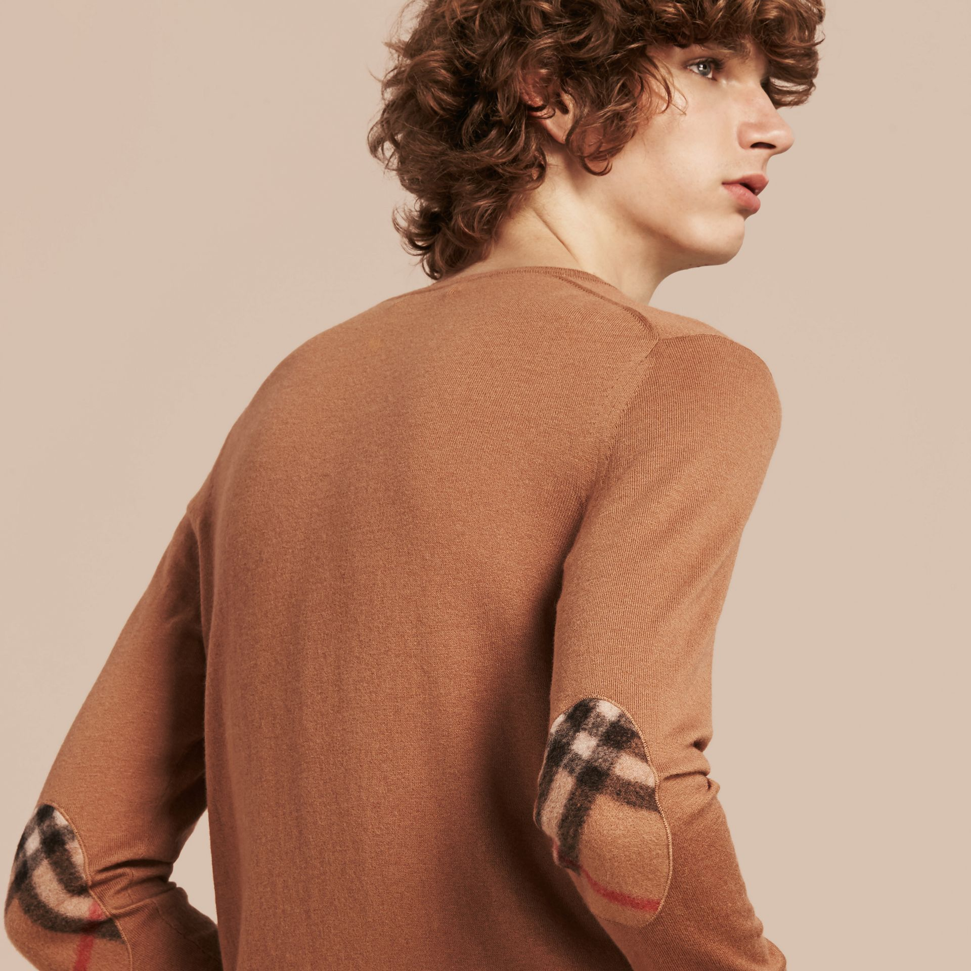 Check Trim Cashmere Cotton Sweater Camel - gallery image 5