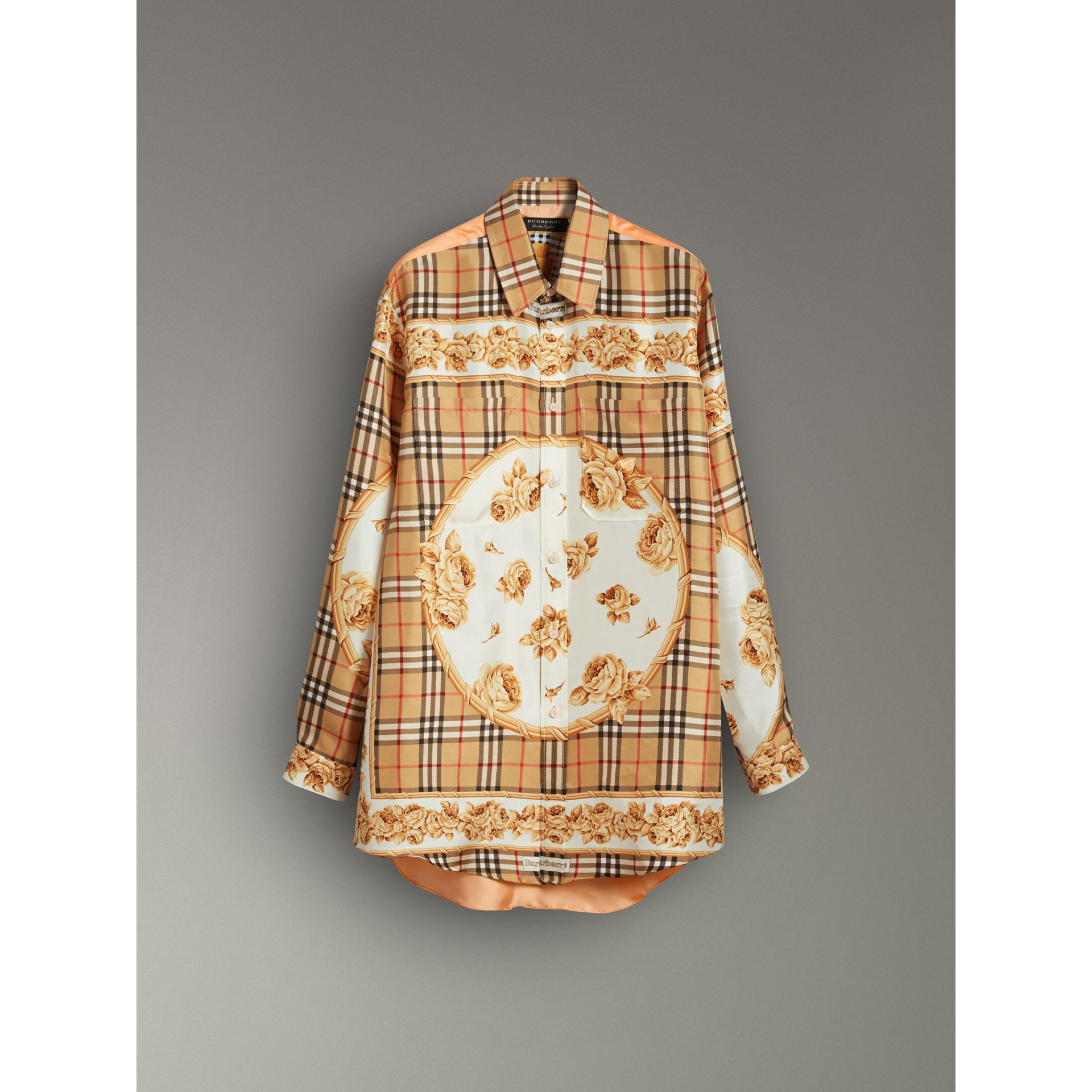 Archive Scarf Print Silk Shirt in Antique Yellow - Women | Burberry - gallery image 3