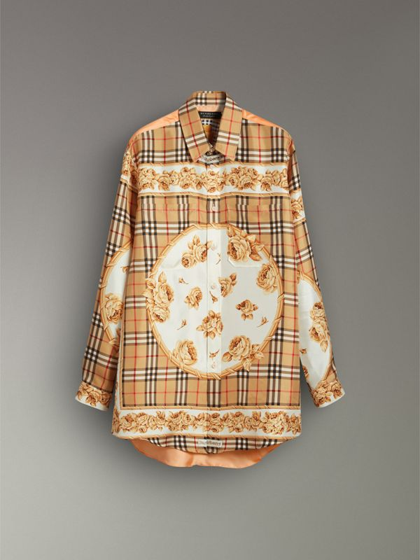 Archive Scarf Print Silk Shirt in Antique Yellow - Women | Burberry United Kingdom - cell image 3