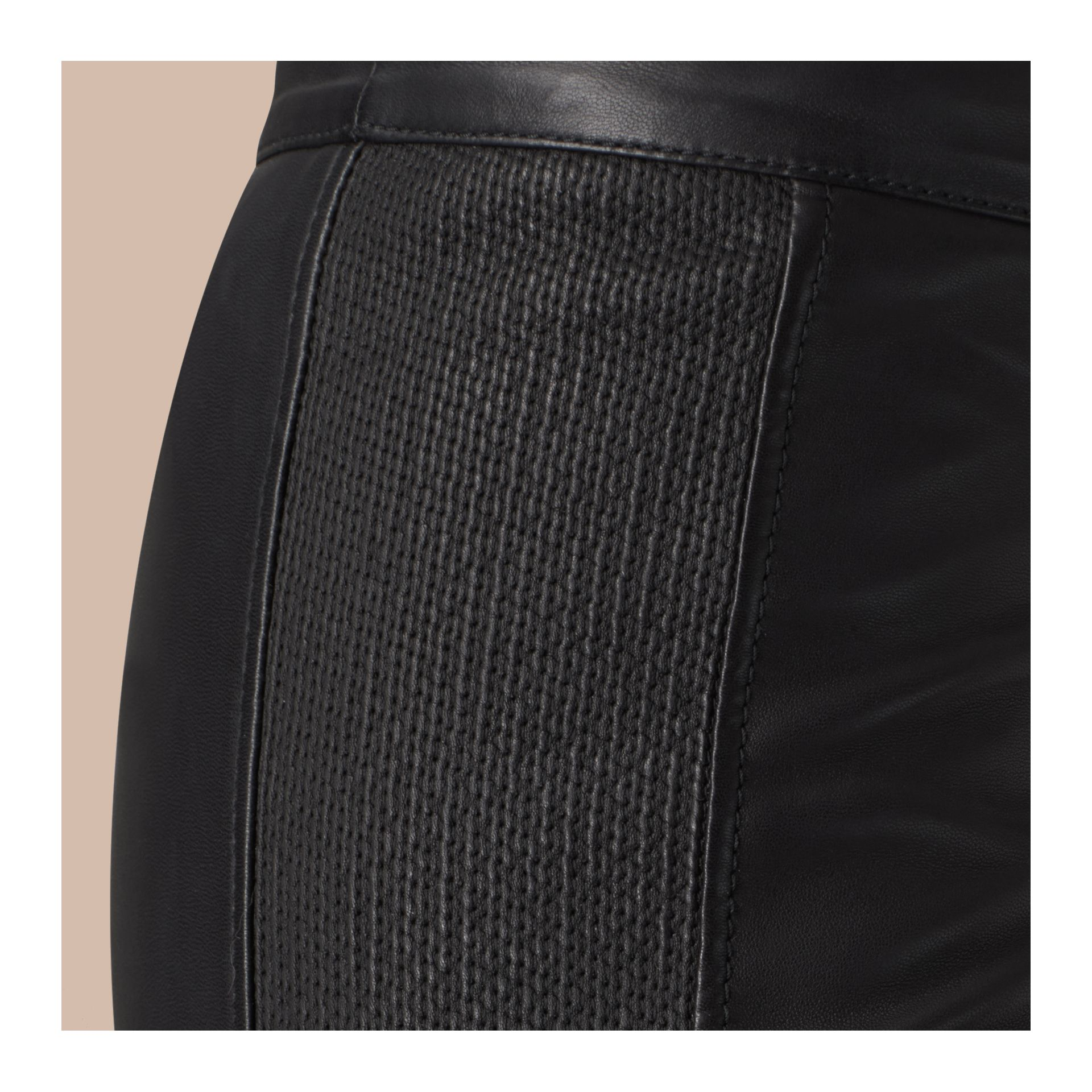 Black Panelled Lambskin Trousers - gallery image 2