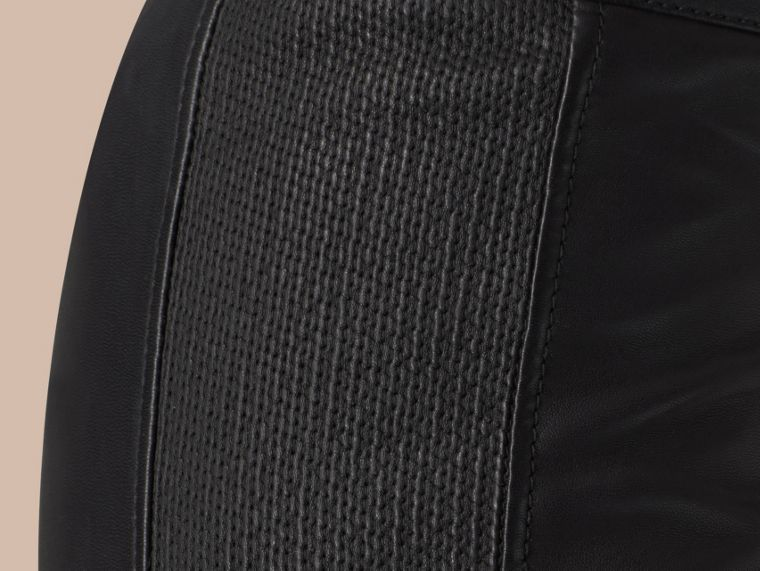 Black Panelled Lambskin Trousers - cell image 1