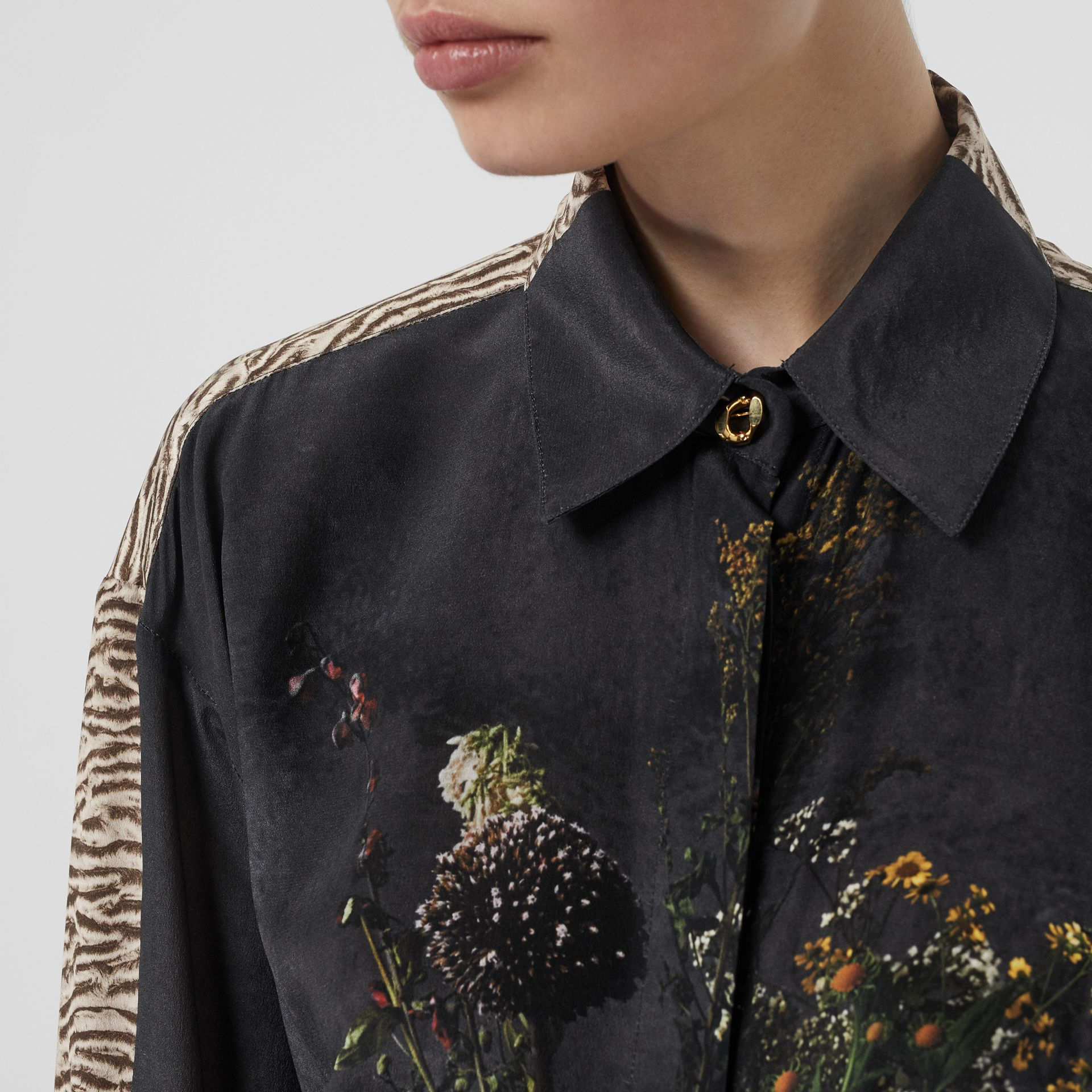 Floral and Tiger Print Silk Oversized Shirt in Black - Women | Burberry Australia - gallery image 1