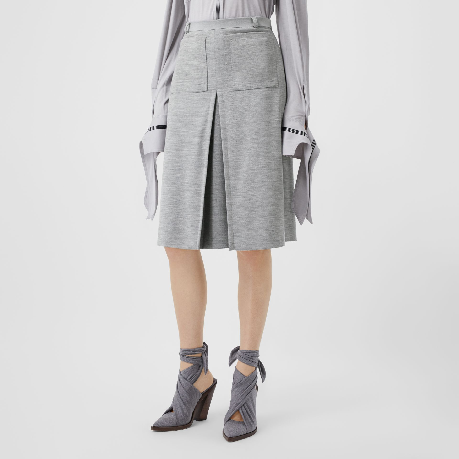 Box-pleat Detail Technical Wool Jersey A-line Skirt in Cloud Grey - Women | Burberry - gallery image 4