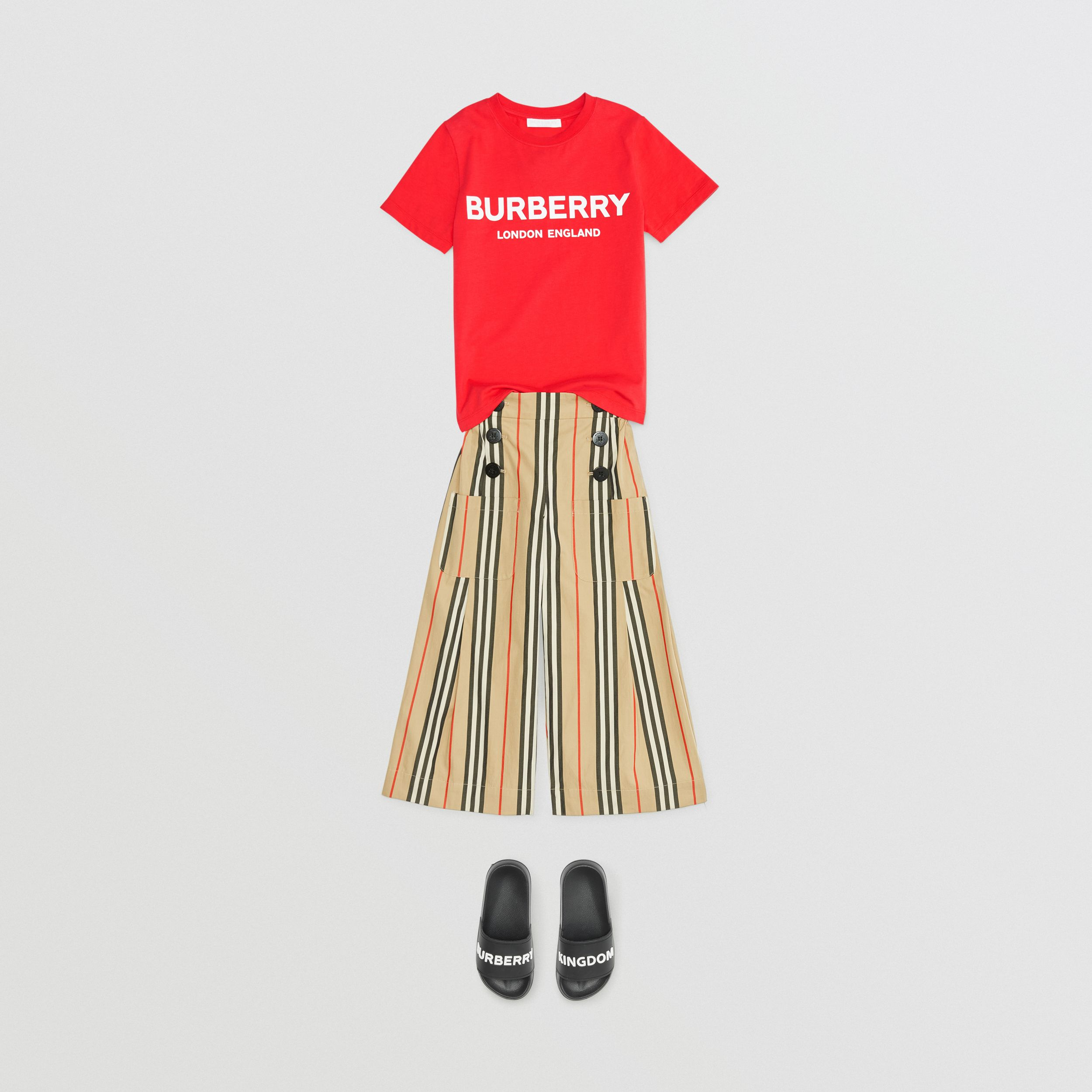 Logo Print Cotton T-shirt in Bright Red | Burberry - 3