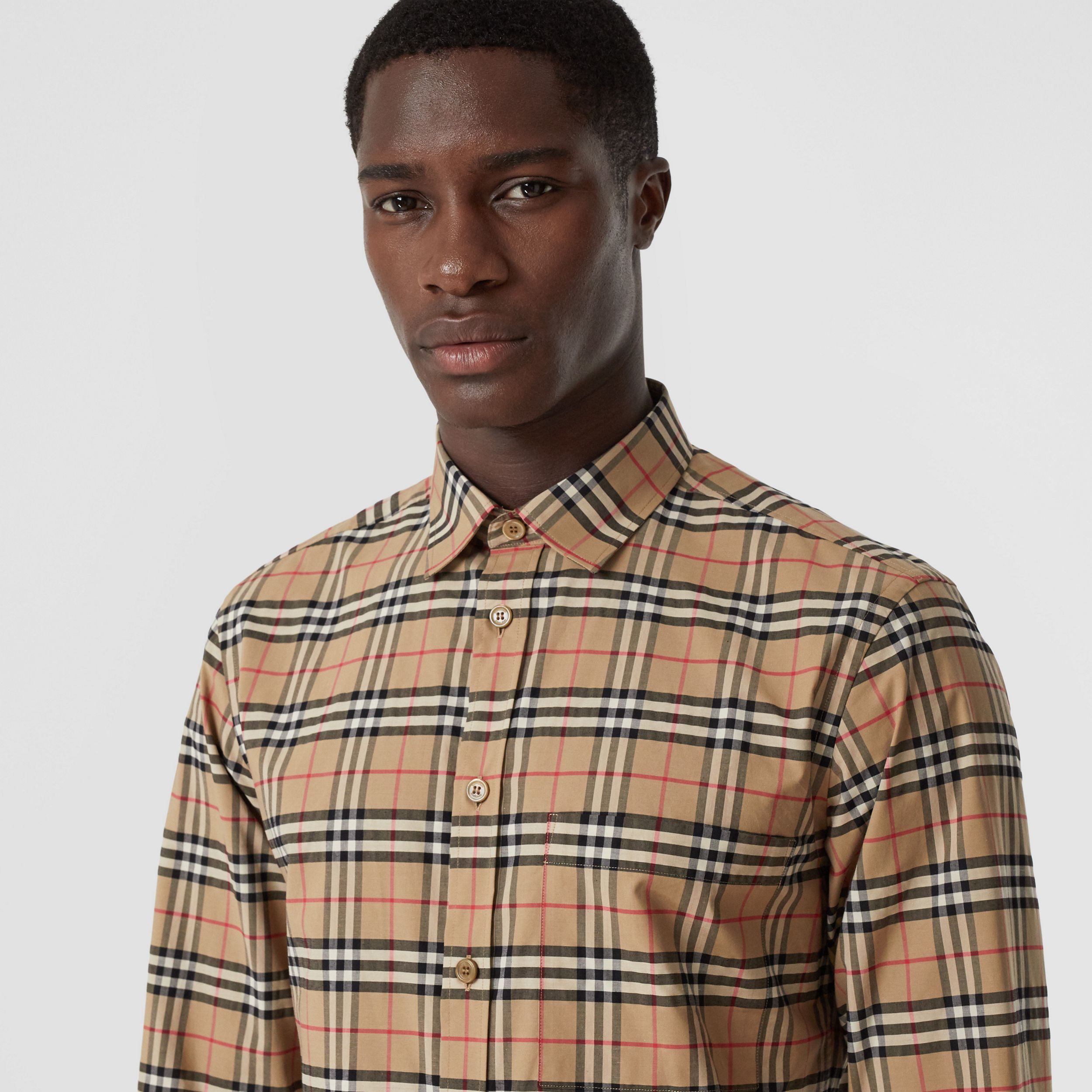 Small Scale Check Stretch Cotton Shirt in Archive Beige - Men | Burberry - 2
