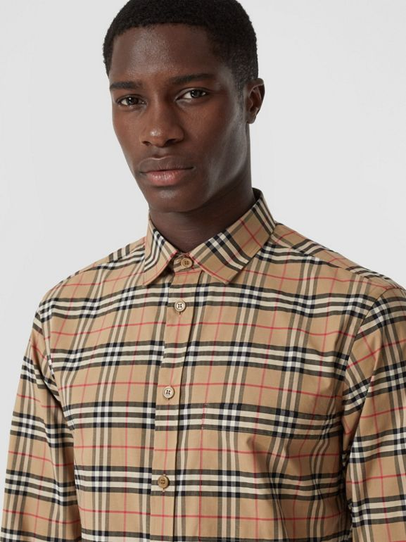 Small Scale Check Stretch Cotton Shirt in Archive Beige - Men | Burberry - cell image 1