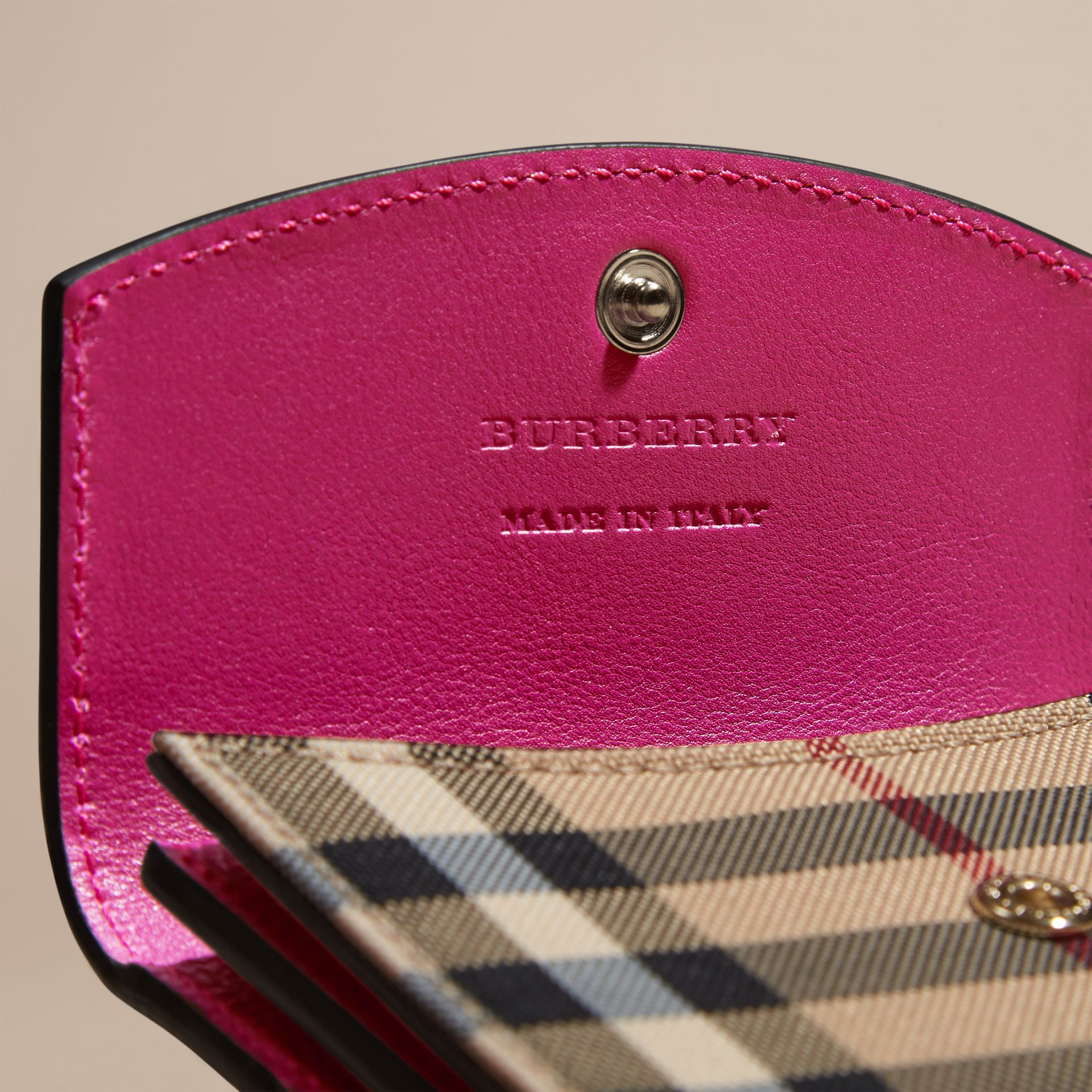 Brilliant fuchsia Horseferry Check and Leather Card Case Brilliant Fuchsia - gallery image 2