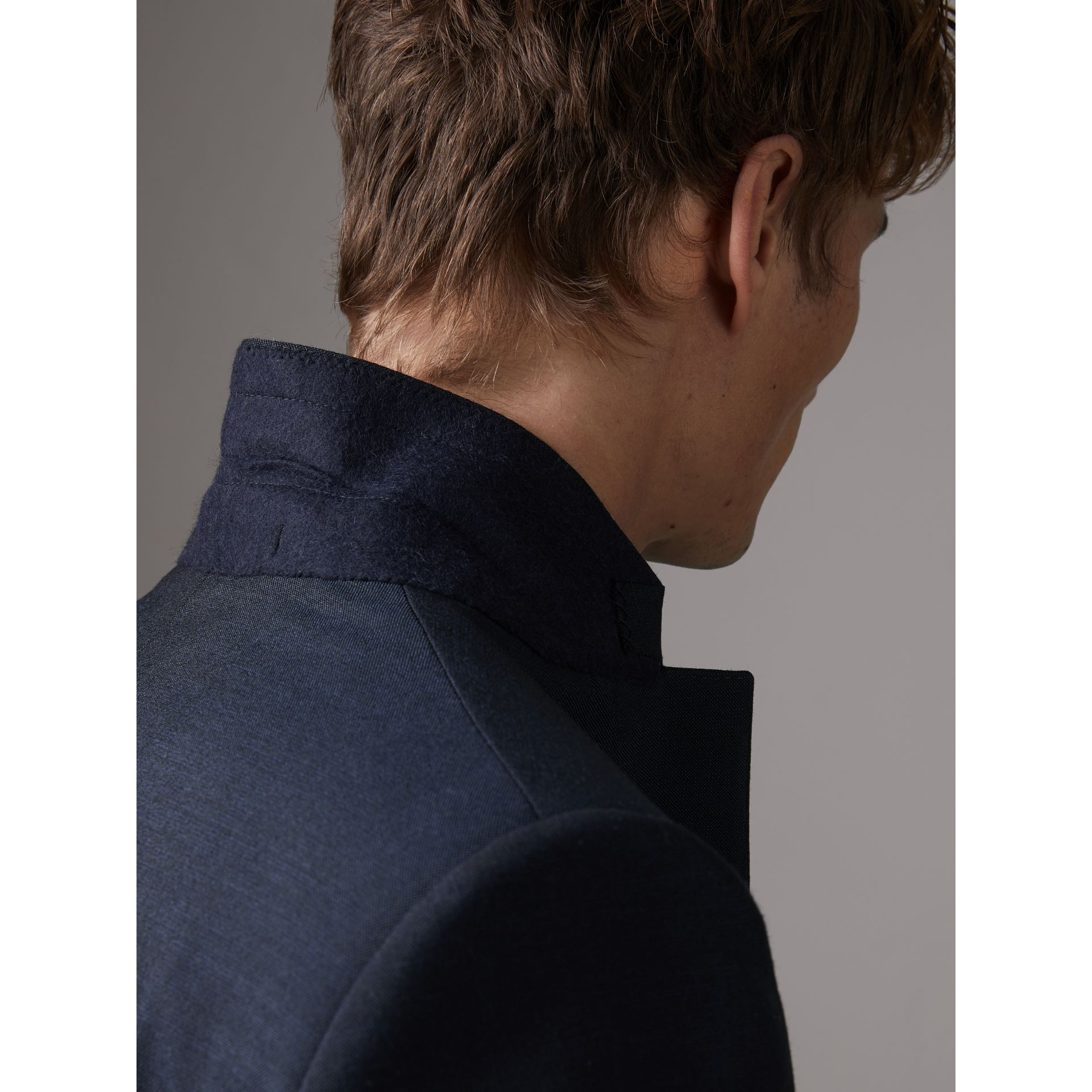 Slim Fit Wool Half-canvas Tuxedo in Navy - Men | Burberry United Kingdom - gallery image 5