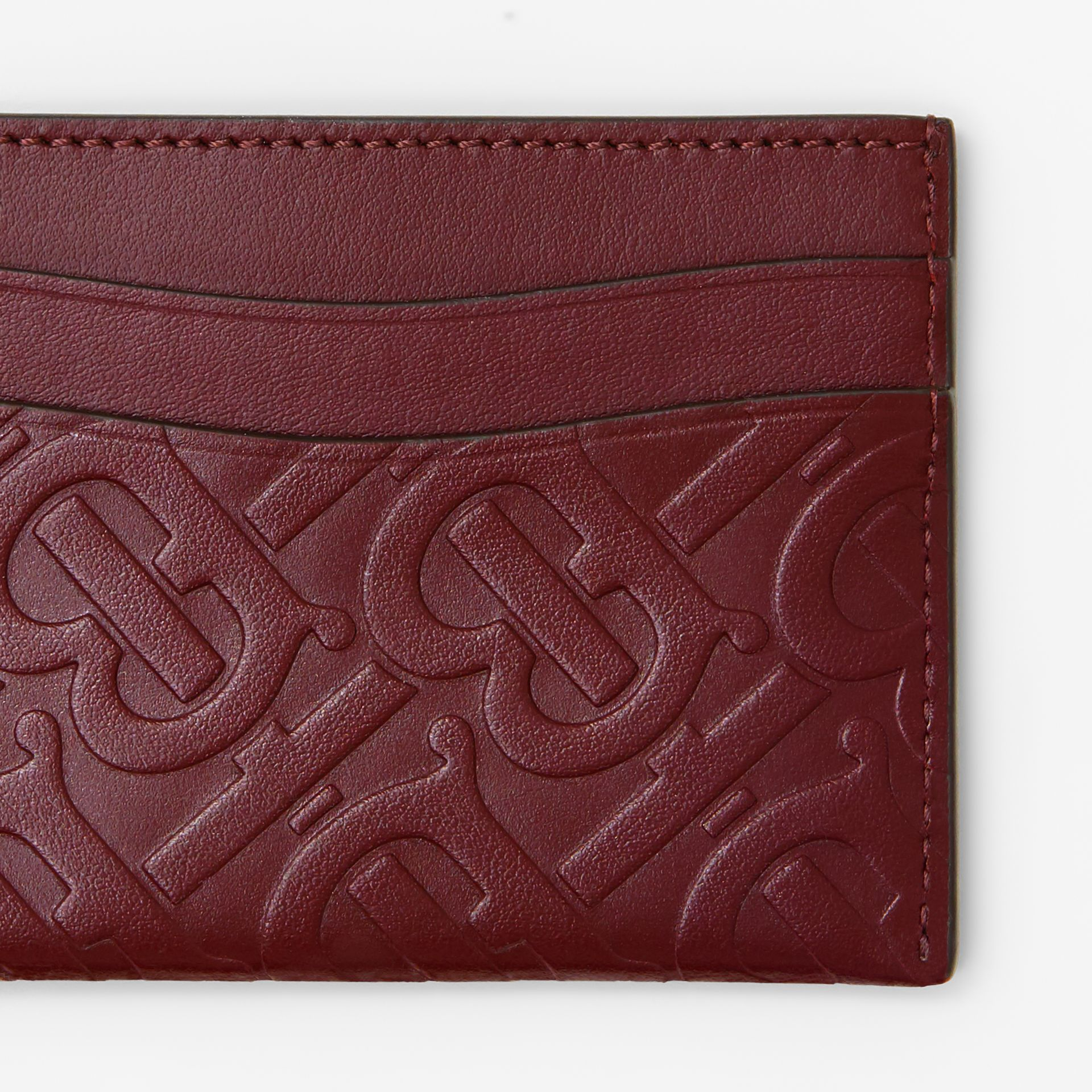 Monogram Leather Card Case in Oxblood - Women | Burberry Australia - gallery image 1