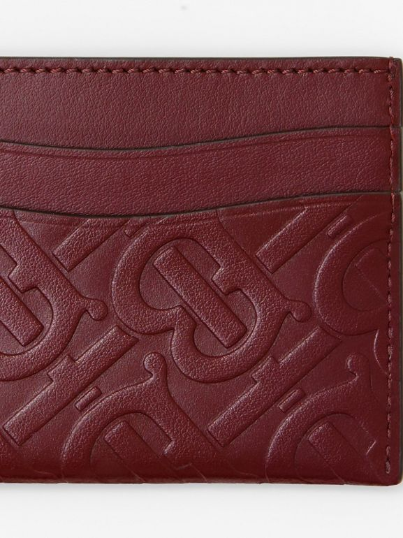Monogram Leather Card Case in Oxblood - Women | Burberry Australia - cell image 1