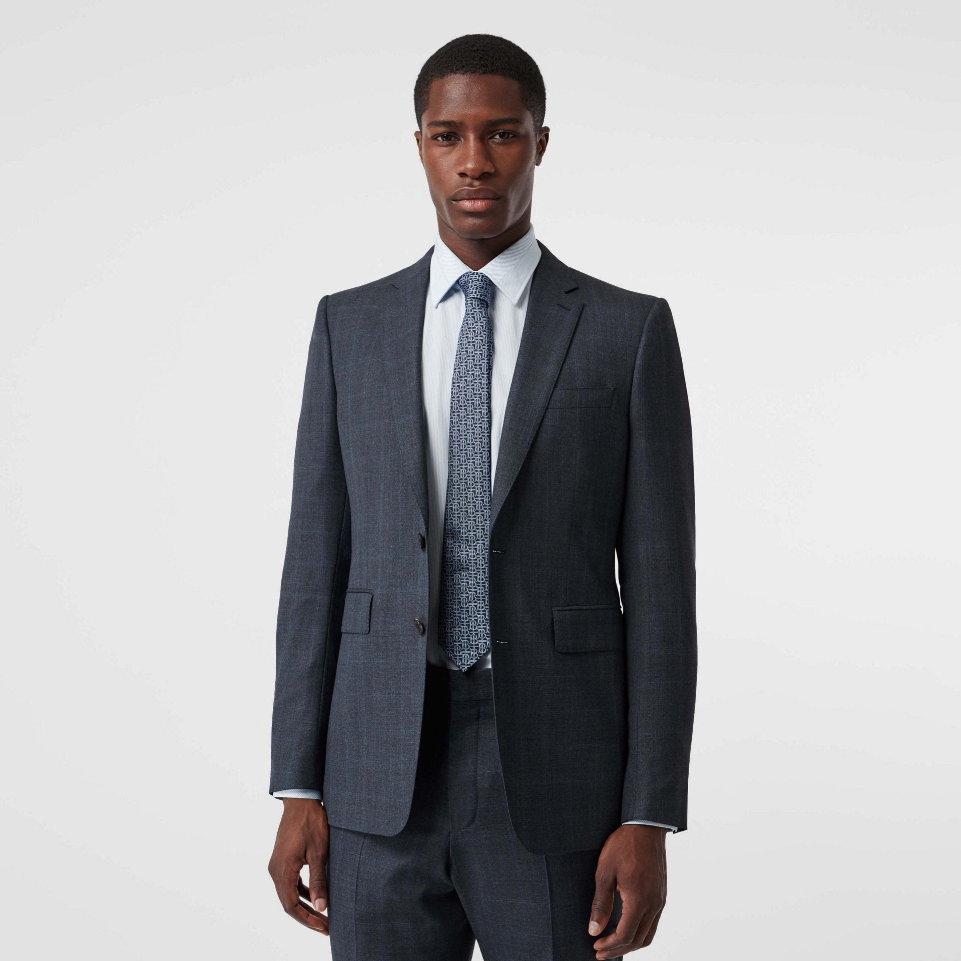 Classic Fit Windowpane Check Wool Suit in Light Navy - Men | Burberry - gallery image 6