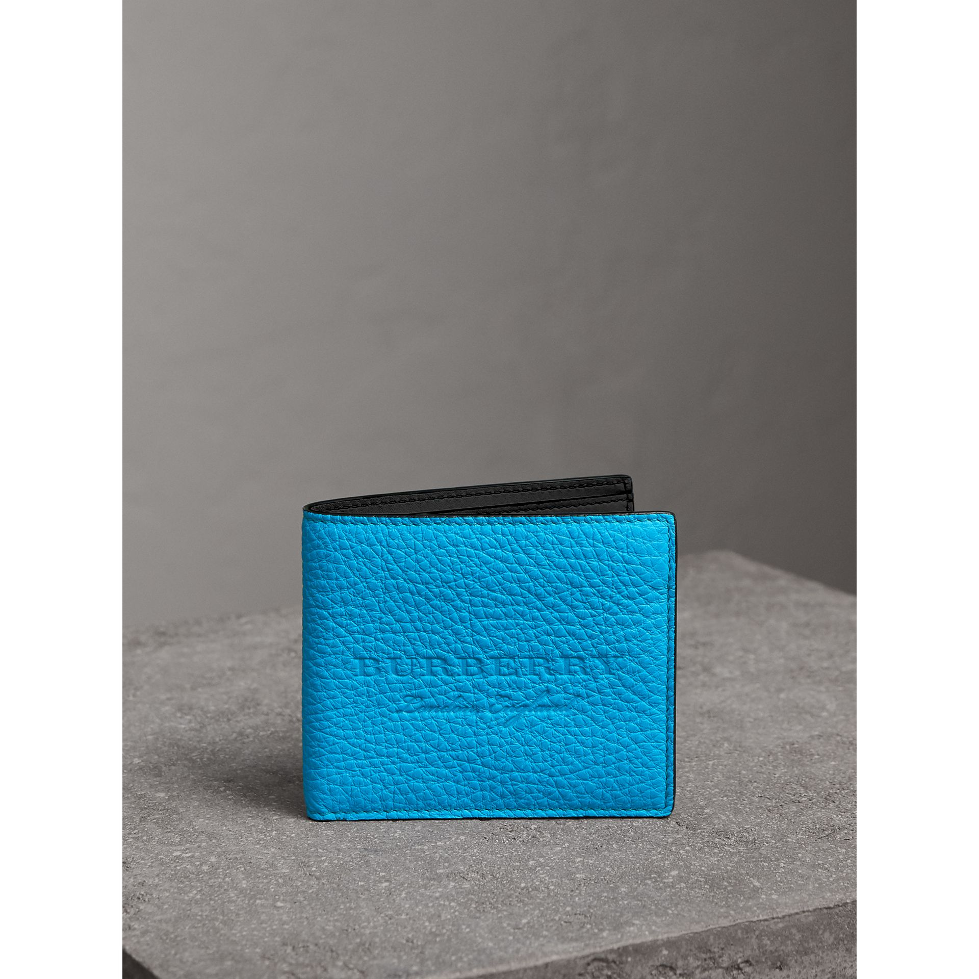Embossed Leather International Bifold Wallet in Neon Blue - Men | Burberry - gallery image 4