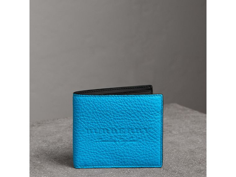 Embossed Leather International Bifold Wallet in Neon Blue - Men | Burberry - cell image 4