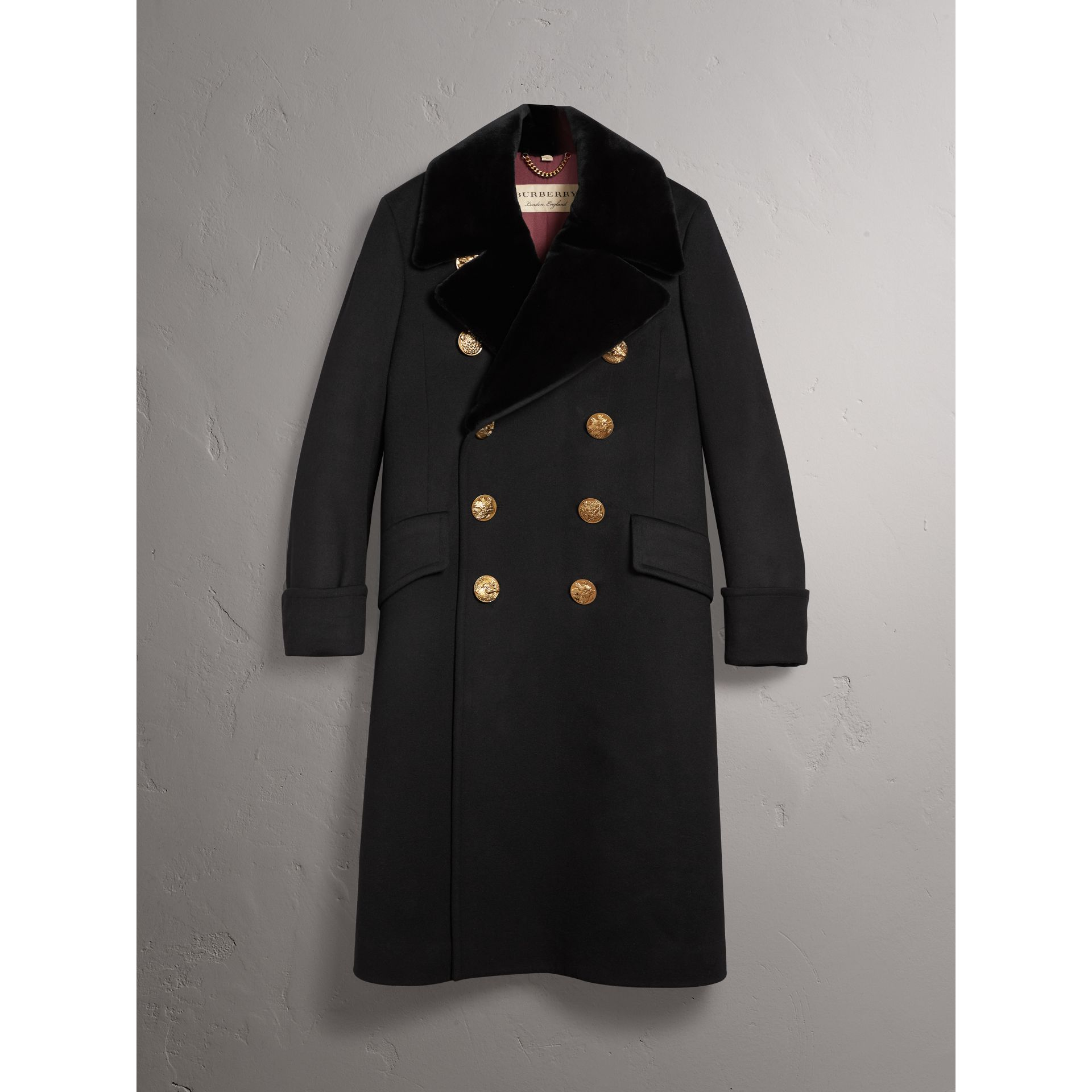 Detachable Mink Collar Cashmere Wool Greatcoat in Black - Men | Burberry United Kingdom - gallery image 3