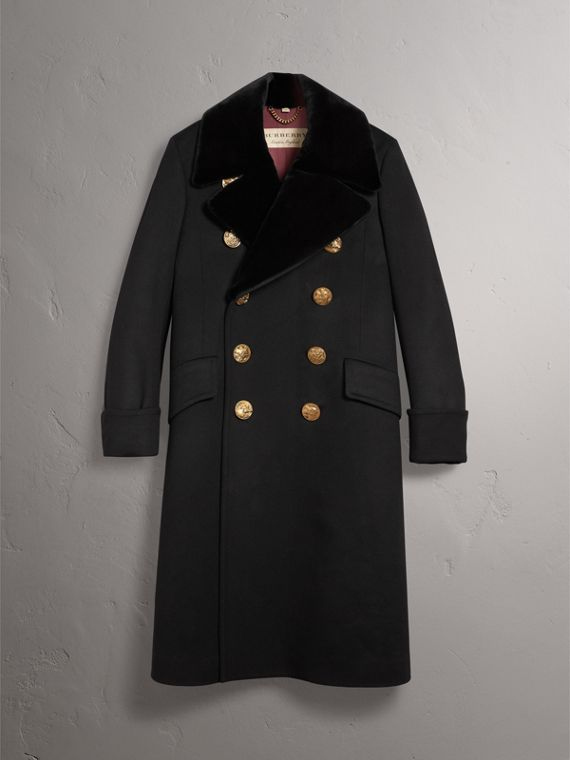 Detachable Mink Collar Cashmere Wool Greatcoat in Black