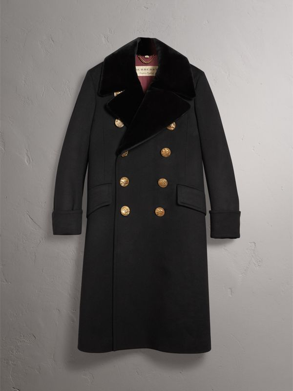 Detachable Mink Collar Cashmere Wool Greatcoat in Black - Men | Burberry - cell image 3