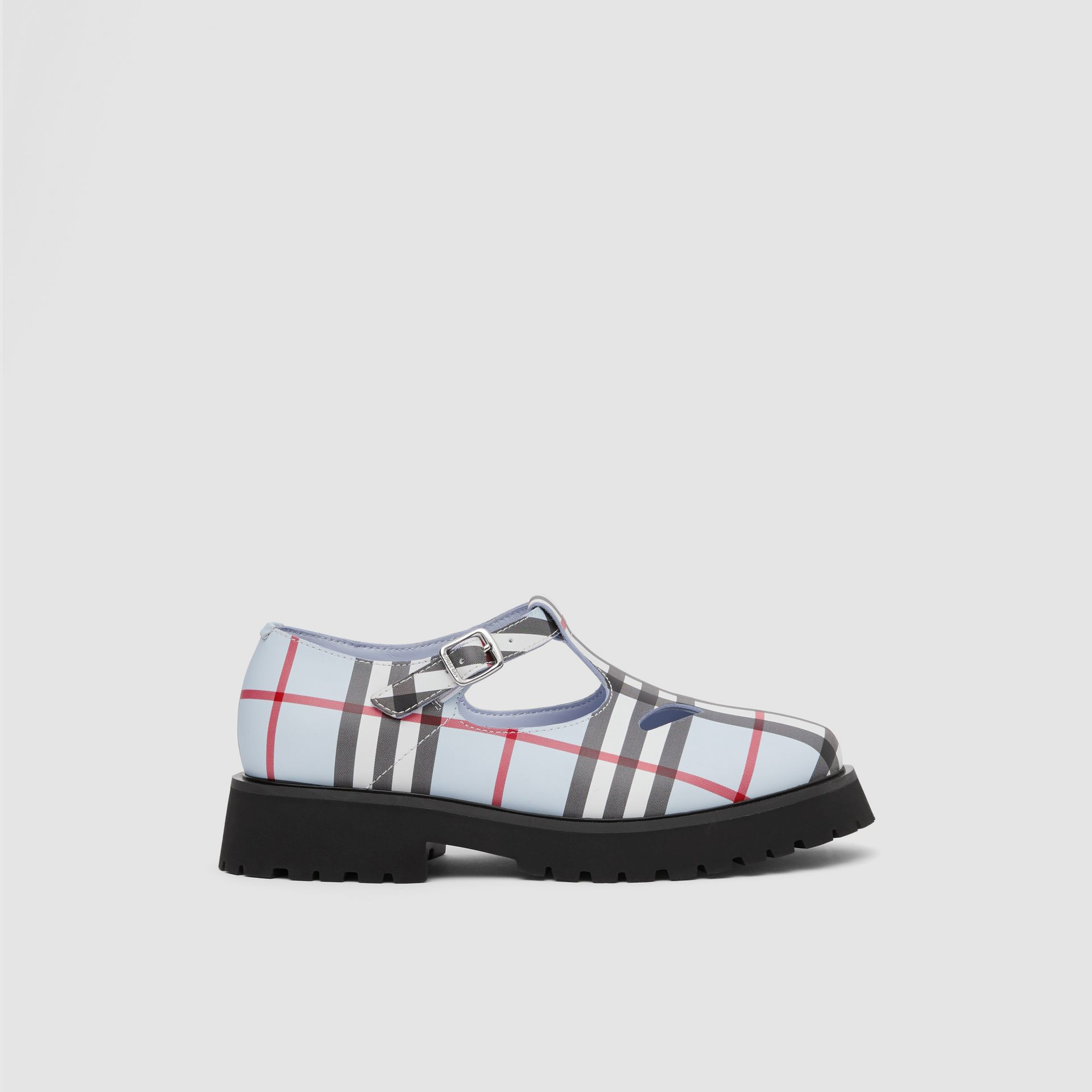 Vintage Check Leather T-bar Shoes in Pale Blue - Children | Burberry - gallery image 3