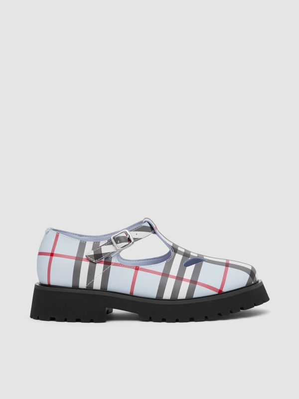 Vintage Check Leather T-bar Shoes in Pale Blue - Children | Burberry - cell image 3