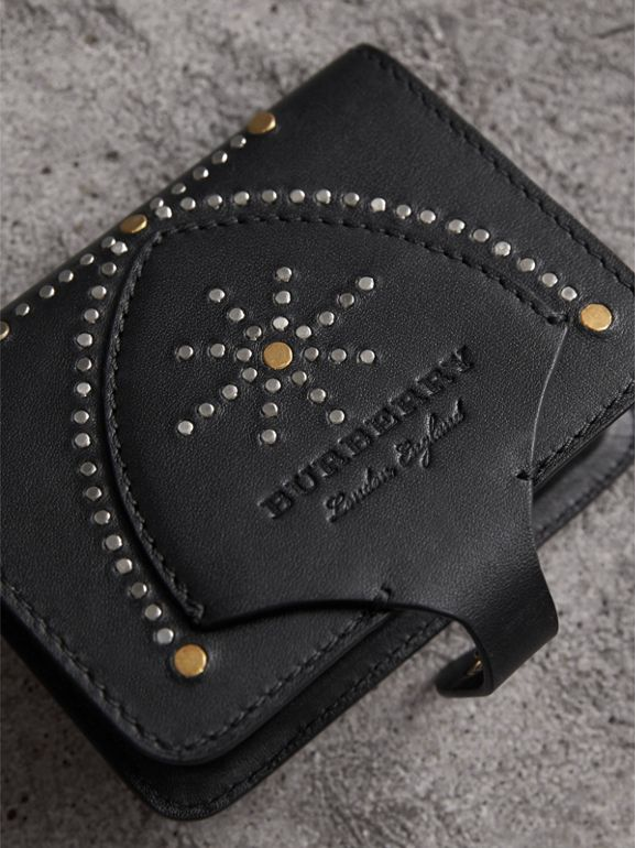 Equestrian Shield Riveted Leather Card Case in Black | Burberry - cell image 1