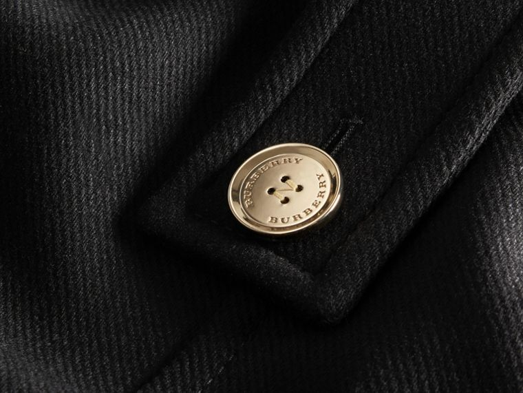 Black Technical Wool Cashmere Collarless Coat Black - cell image 1