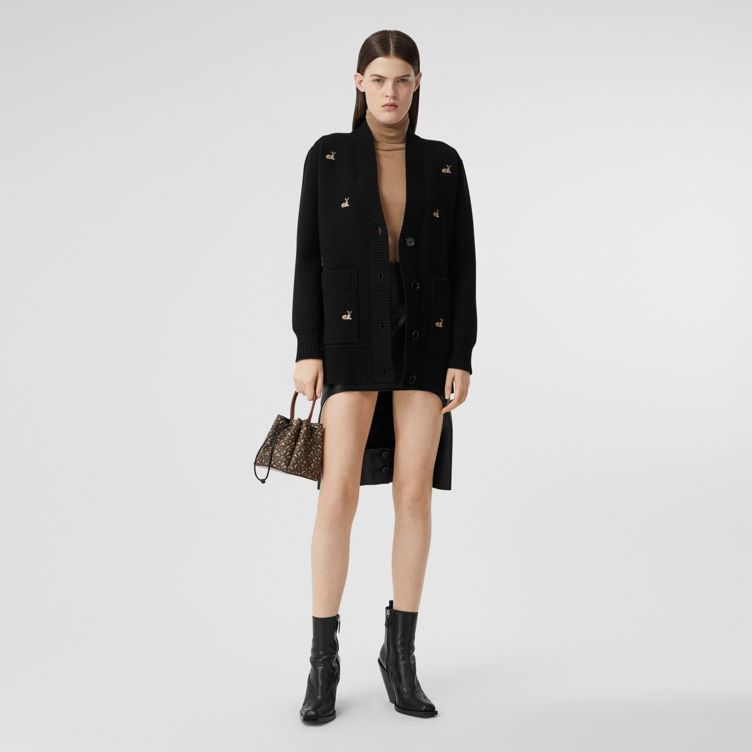 Deer Motif Wool Cashmere Blend Oversized Cardigan in Black - Women | Burberry - 1