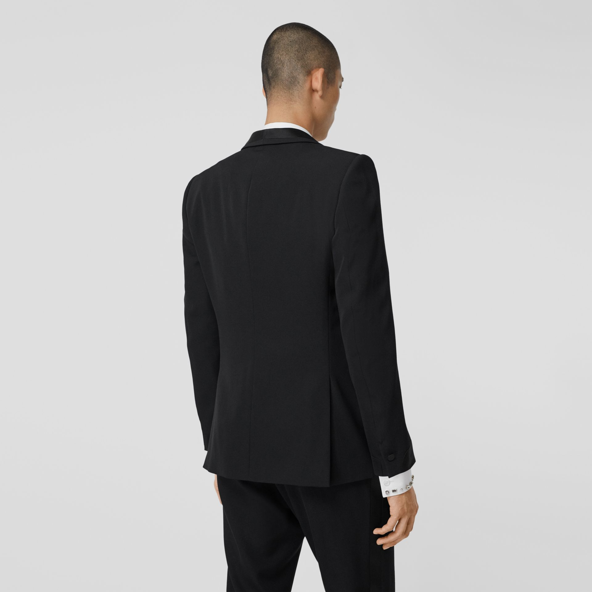 English Fit Silk Trim Wool Tailored Jacket in Black - Men | Burberry - gallery image 2