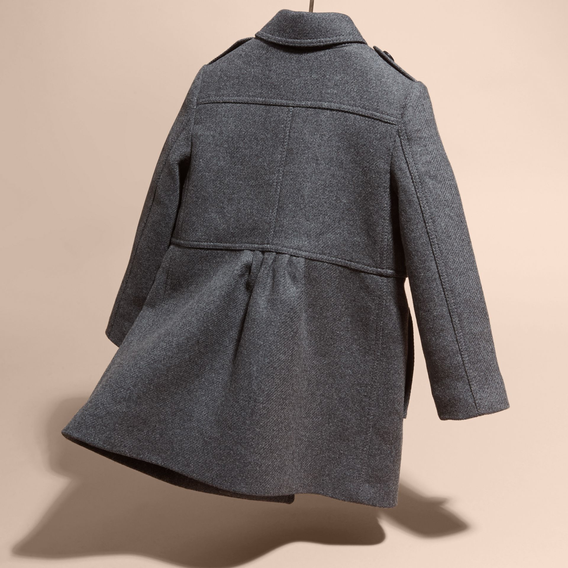 Mid grey melange Tailored Wool Cashmere Blend Coat Mid Grey Melange - gallery image 4