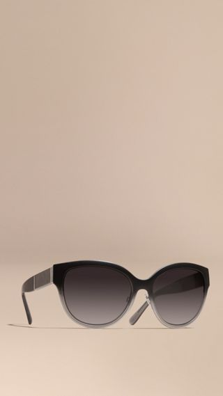 Check Detail Round Cat-eye Sunglasses