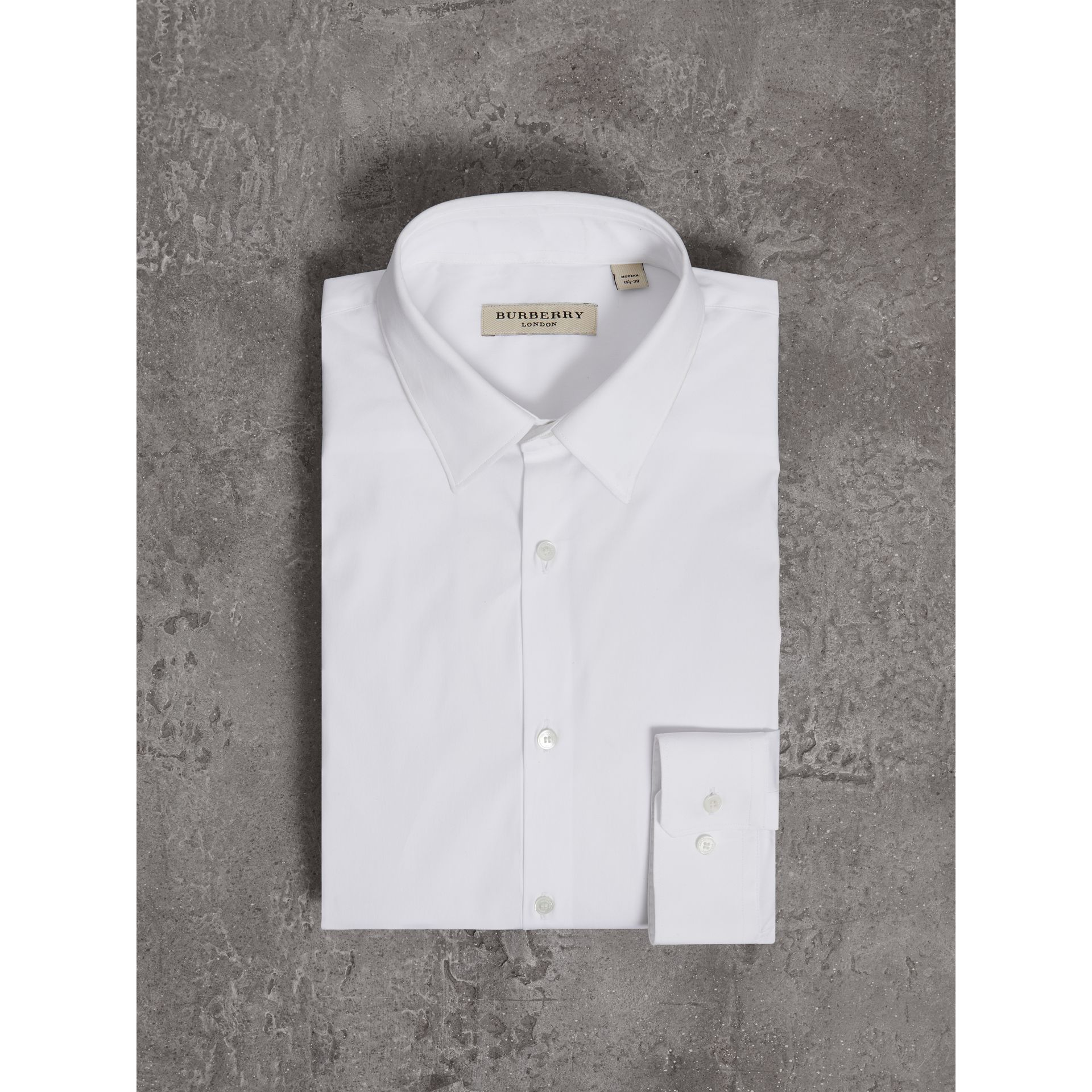 Modern Fit Stretch Cotton Shirt in White - Men | Burberry - gallery image 3