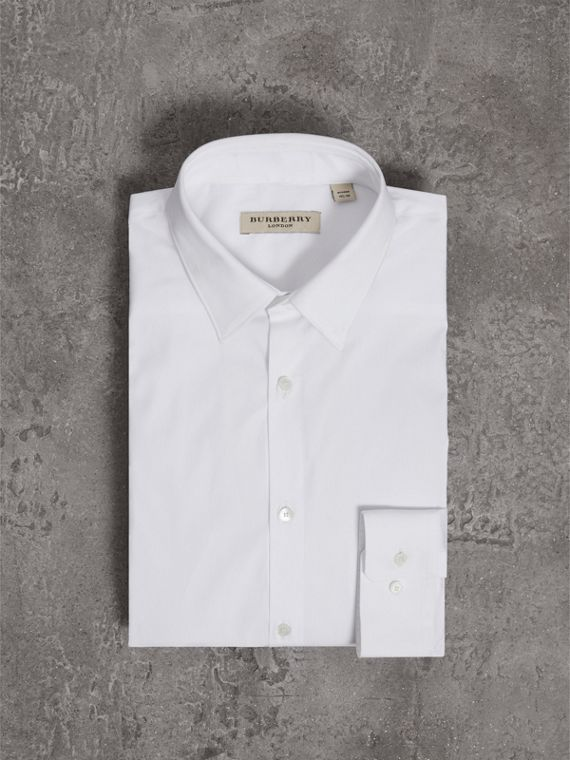Modern Fit Stretch Cotton Shirt in White - Men | Burberry Australia - cell image 3