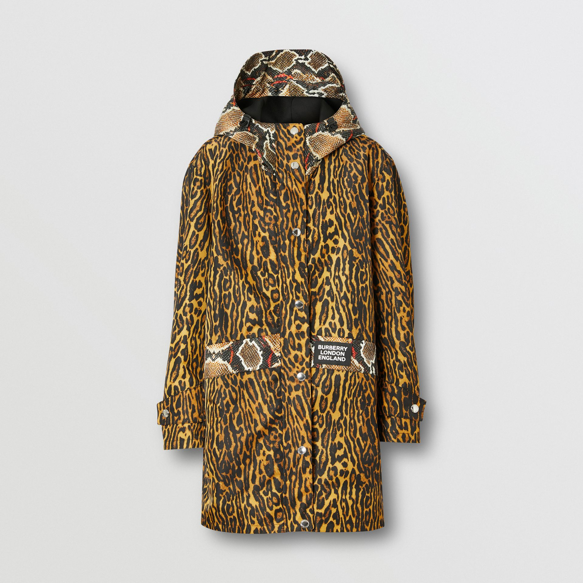 Animal Print Nylon Twill Parka in Honey - Women | Burberry - gallery image 3