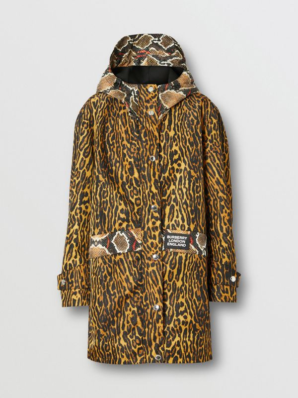 Animal Print Nylon Twill Parka in Honey - Women | Burberry Hong Kong S.A.R - cell image 3