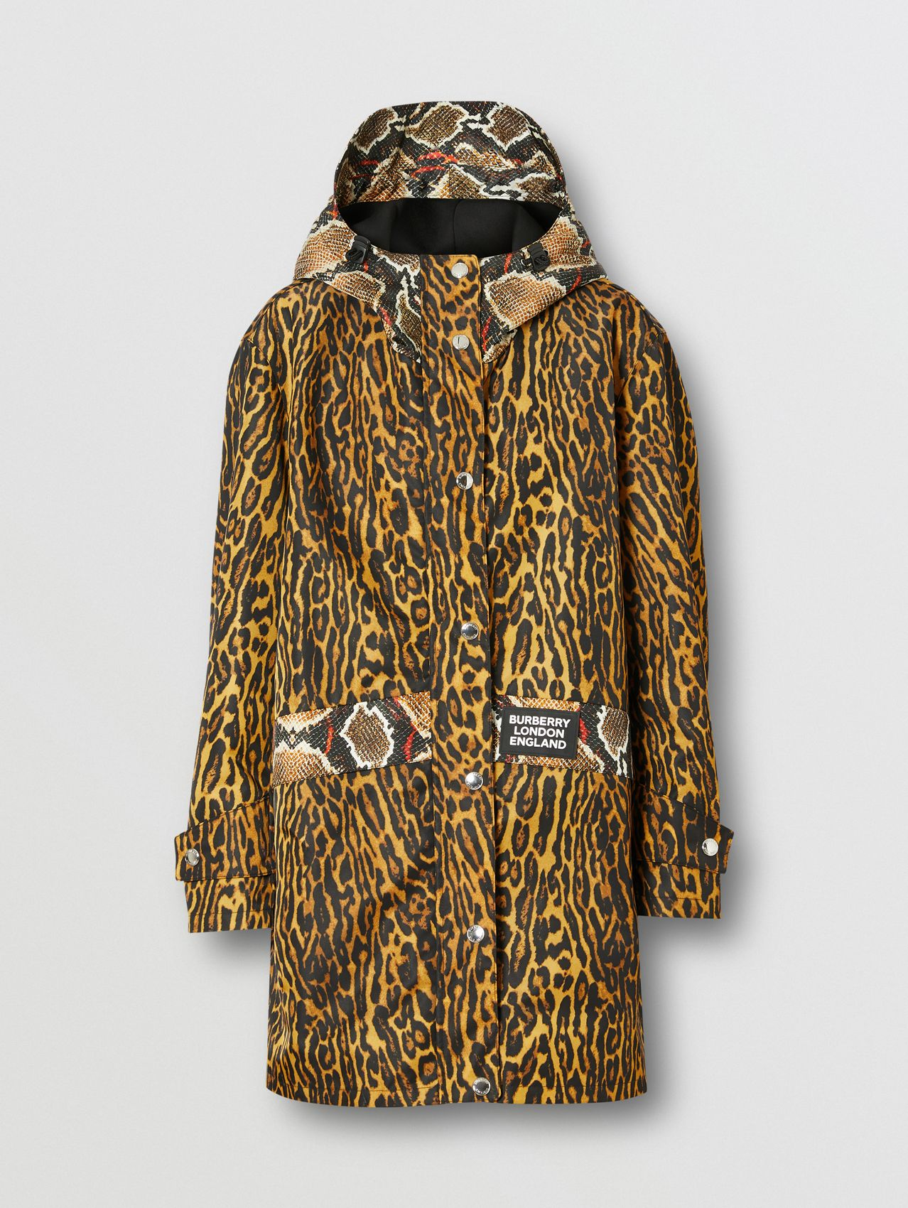 Animal Print Nylon Twill Parka (Honey)