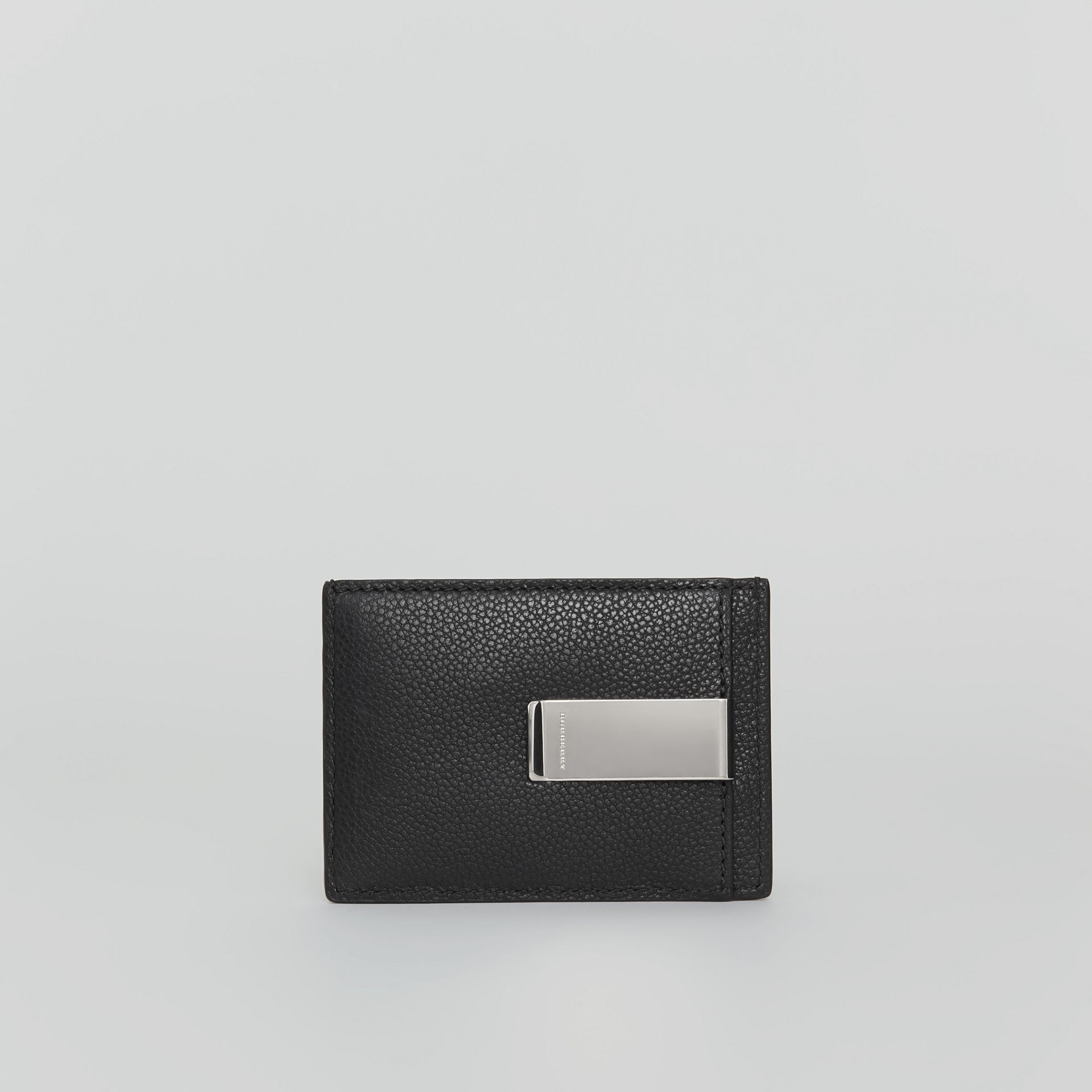 Grainy Leather Money Clip Card Case in Black - Men | Burberry - gallery image 2