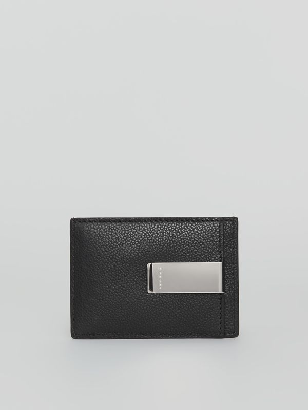 Grainy Leather Money Clip Card Case in Black - Men | Burberry - cell image 2