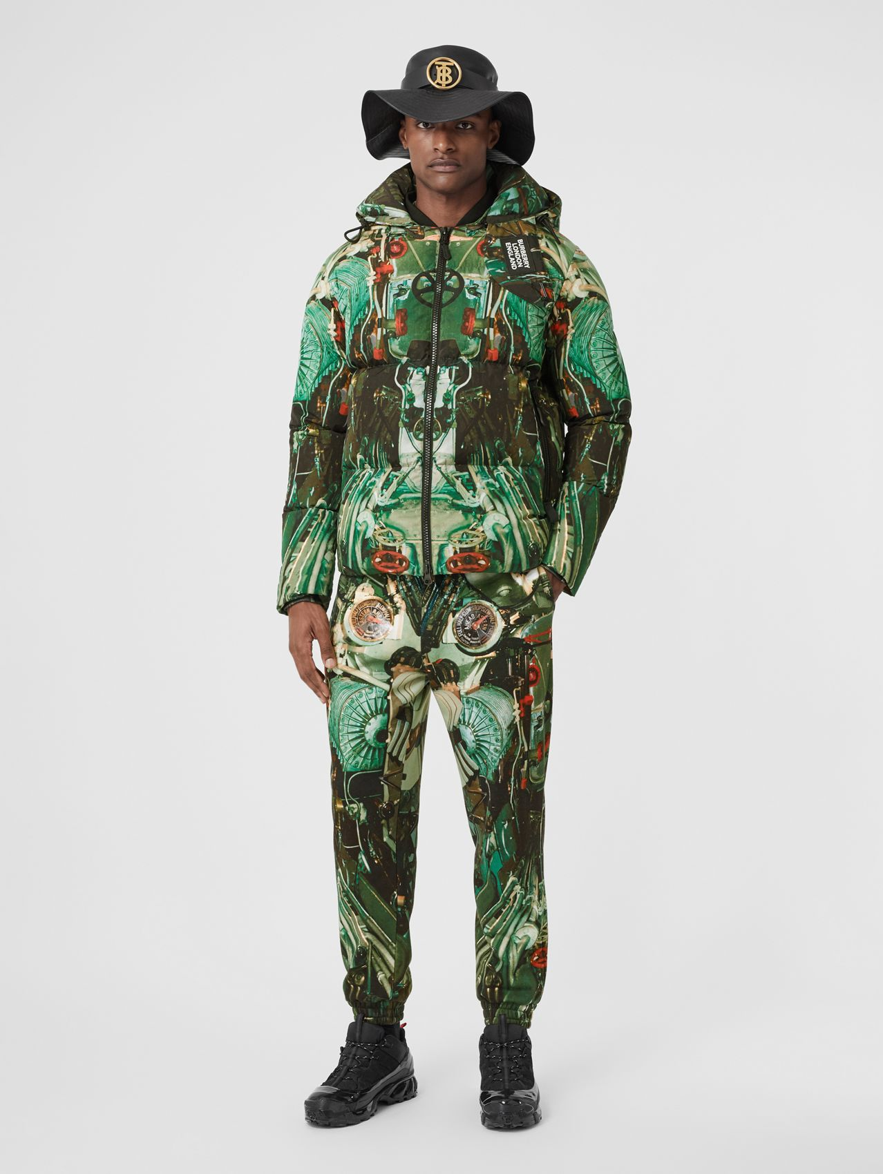 Submarine Print Puffer Jacket in Celadon Green