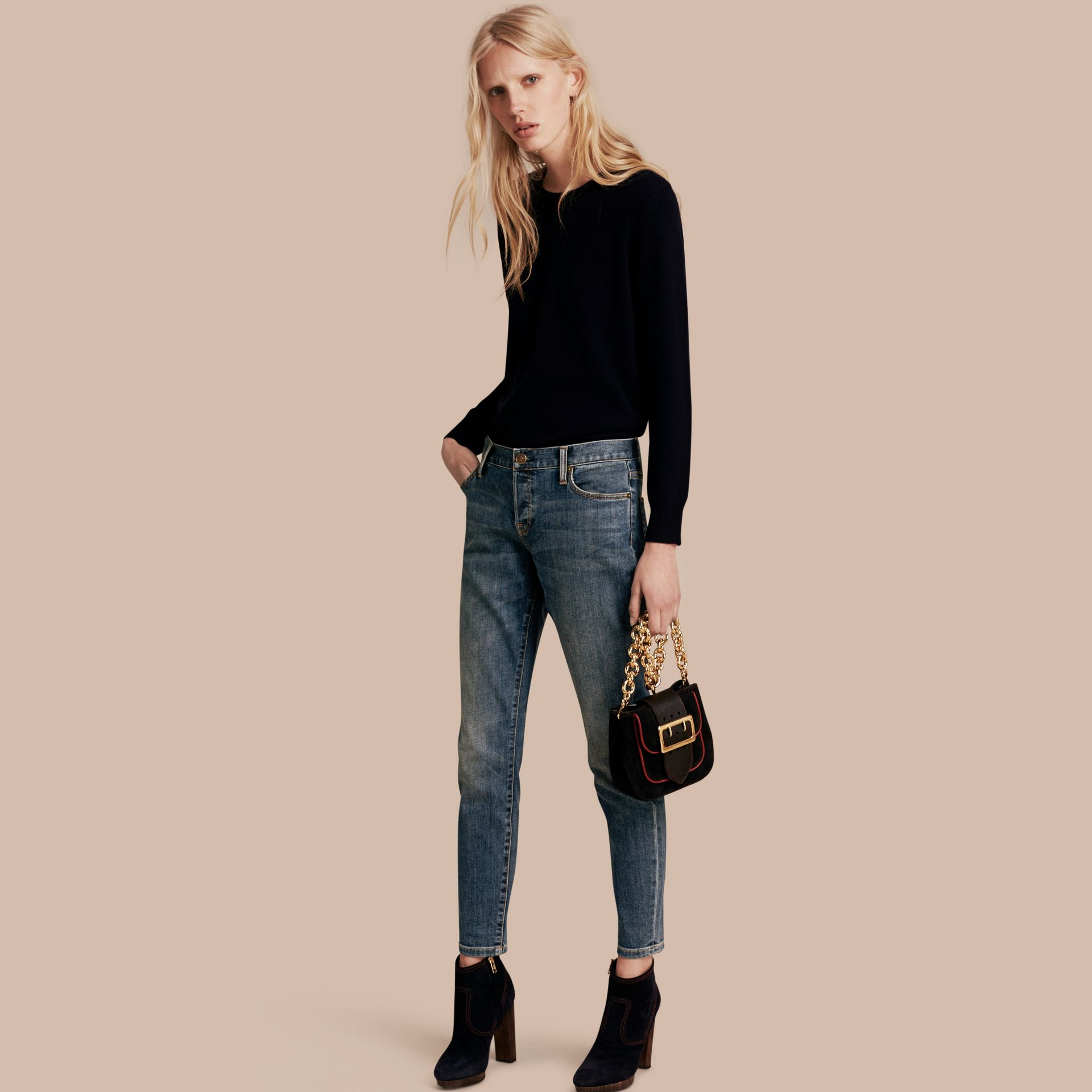 Relaxed Fit Mid-Indigo Jeans - Women | Burberry - gallery image 1