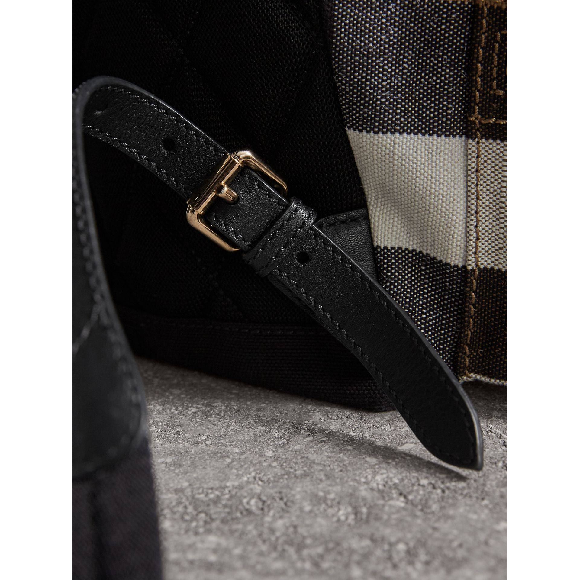 The Medium Rucksack in Canvas Check and Leather in Black - Women | Burberry - gallery image 2