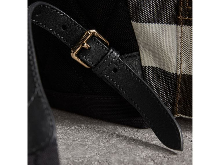 The Medium Rucksack in Canvas Check and Leather in Black - Women | Burberry - cell image 1