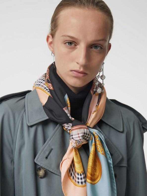 Archive Scarf Print Silk Square Scarf in Multicolour