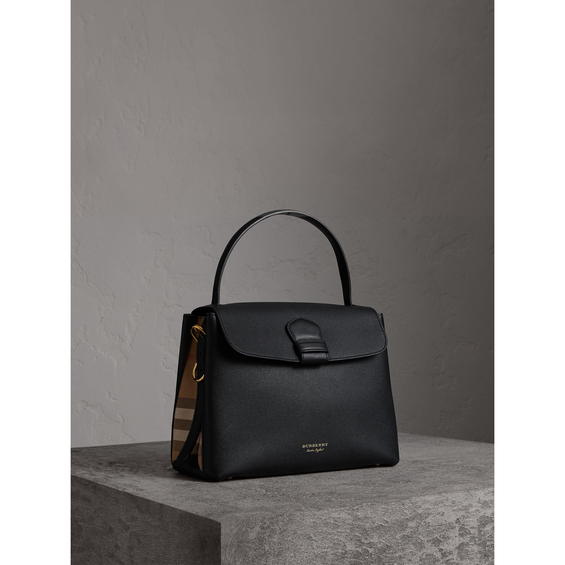 Medium Grainy Leather and House Check Tote Bag in Black - Women | Burberry - gallery image 0