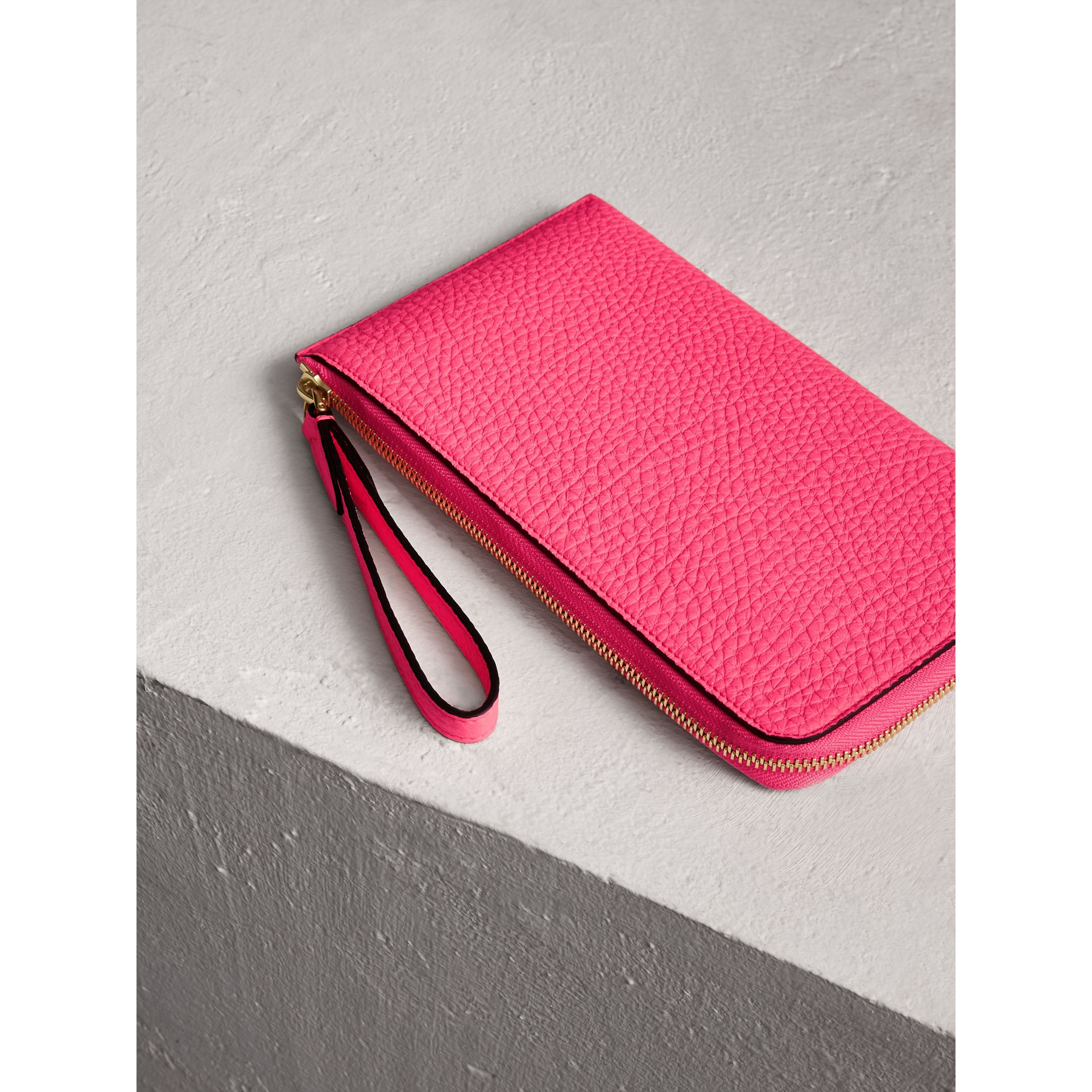 Embossed Neon Leather Travel Wallet in Bright Pink | Burberry - gallery image 2