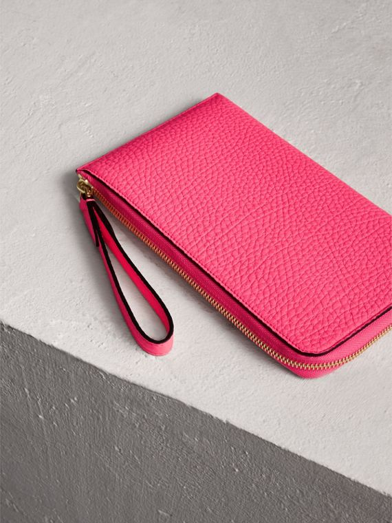 Embossed Neon Leather Travel Wallet in Bright Pink | Burberry - cell image 2