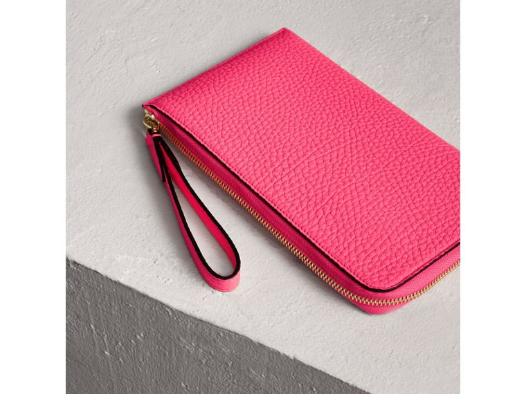 Embossed Neon Leather Travel Wallet in Bright Pink | Burberry - cell image 1